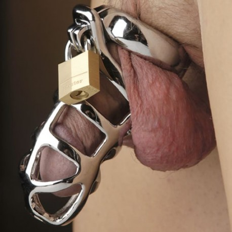 Chastity cage in openwork stainless steel + padlock for testicle rings