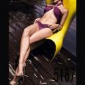 Swimwear: Bikini top purple cross
