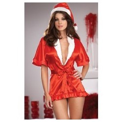 Kimono Red satin & mother Christmas bonnet