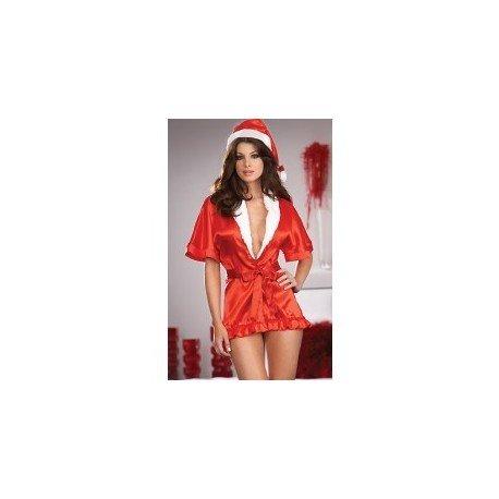 Kimono Red satin & mother Christmas bonnet
