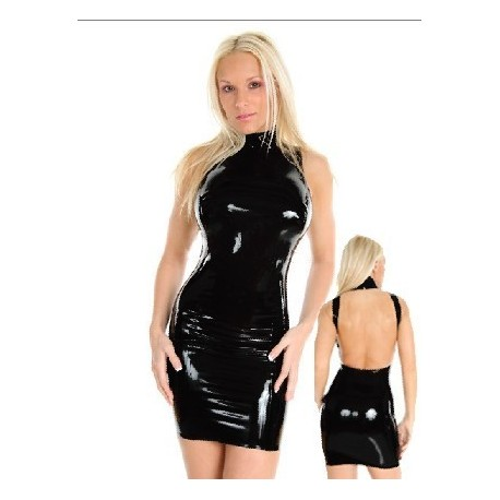 Snug latex ultra bare back dress