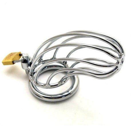 Steel Chastity Cage with tubular design + padlock for testicle ring