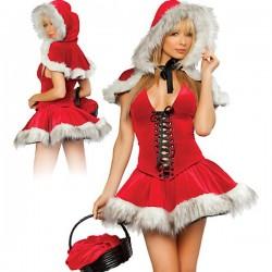 Mother Christmas costume: dress + Cape & hood