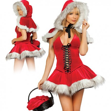Mother Christmas costume: dress + Cape & hood