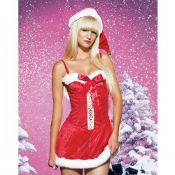 Sexy baby doll of mother Christmas suspenders