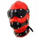 Red & Black BDSM Leather Hood for Total Submission