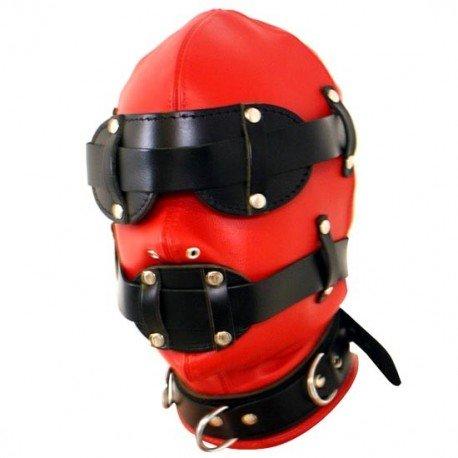 BDSM Black & Red Bondage Hood for Total Submission