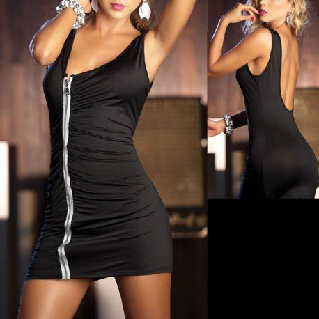 Dress sexy black Teardrop - zip, bare back