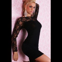 Teardrop black sexy dress with lace