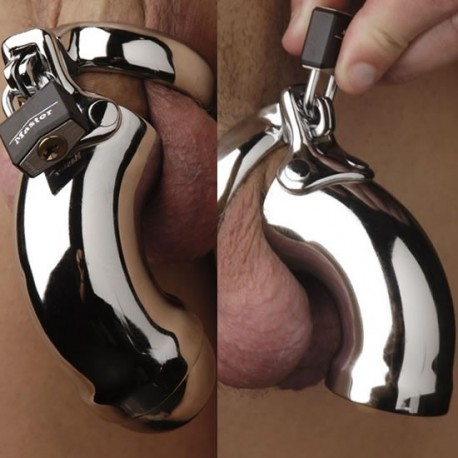 CB3000 Curved Chastity Cage + padlock for testicle ring