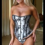 Ground silver corset: floral