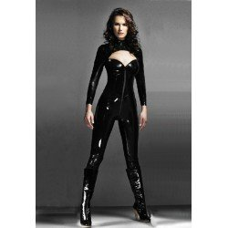 CatSuit combination integral shiny vinyl - style bustier