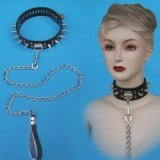 Studded Leather Domination Collar - Padlock and Leash provided