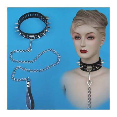 S&M Studded Leather Domination Collar