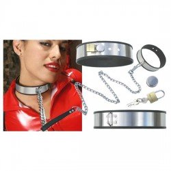 Adjustable S&M Domination Collar in Stainless Steel with chain and padlock