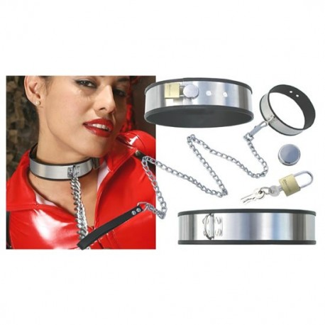 Adjustable domination collar with chain and padlock