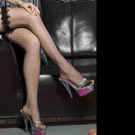 Black fishnet stockings - Garter frousfrous