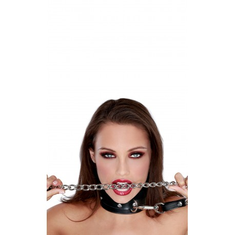 Leather S&M Collar and Chain Leash for dominance and submission