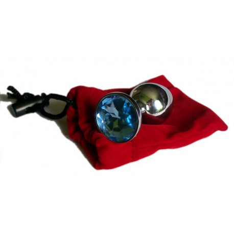 Intimate jewellery - Anal Plug - Rosebud - Blue with red velvet jewel case