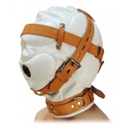White Leather Hood for Sensory Deprivation