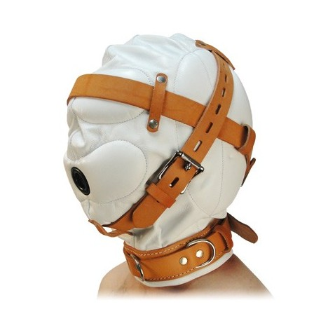 White Leather Hood - sensory deprivation