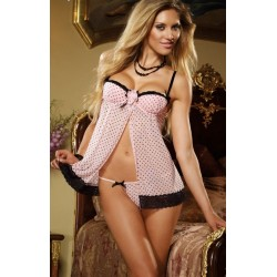 Babydoll / Nightdress: Pink with black dots, open