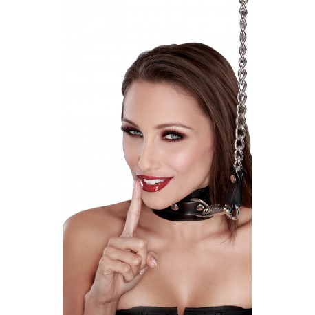 S&M leather collar with chain leash for domination & submission