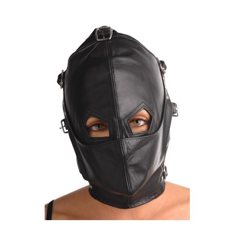 Full leather SM hood- Detachable muzzle and mask