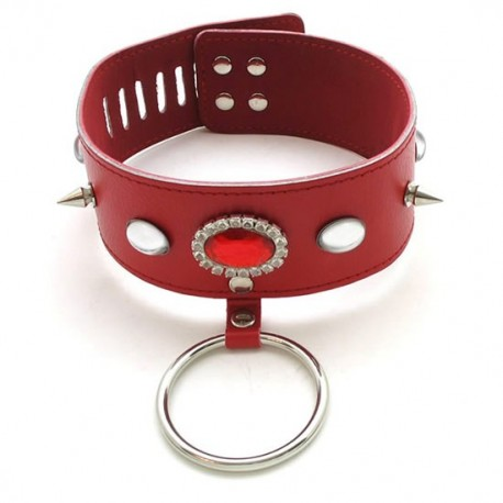 Leather collar with scarlet jewel, spikes and ring