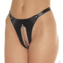 Open thong: leather & chain - SM