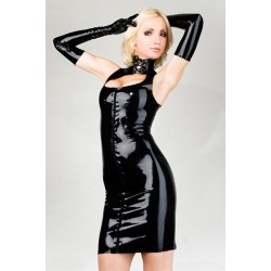 Vinyl Dress & Black Gloves, sexy cleavage, tight-fitting