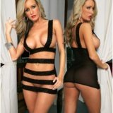 Nightdress - Linear Sexy Strips lace