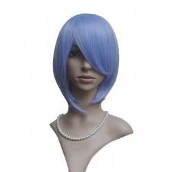 Sexy wig: blue fringe knee cutting