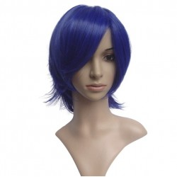 Sexy wig: cut mid-length dark blue fringe