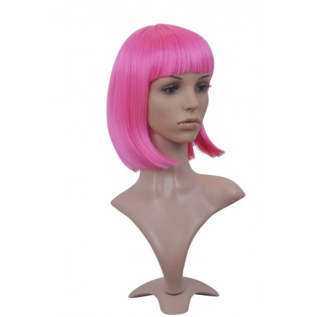 Sexy wig: knee cutting pink with fringe