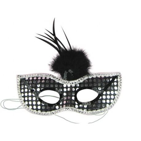 Rhinestone Venetian Party Mask with Black Pompom