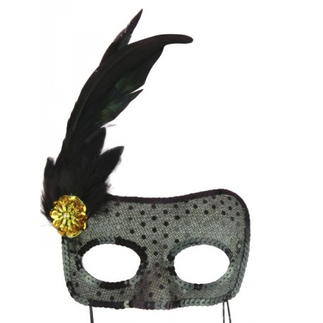 Sexy Black Rhinestone Venetian Party Mask