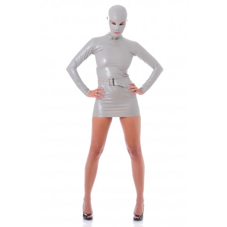 Grey Zentai latex dress James Bond Girl