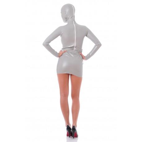 Grey Zentai latex dress James Bond Girl