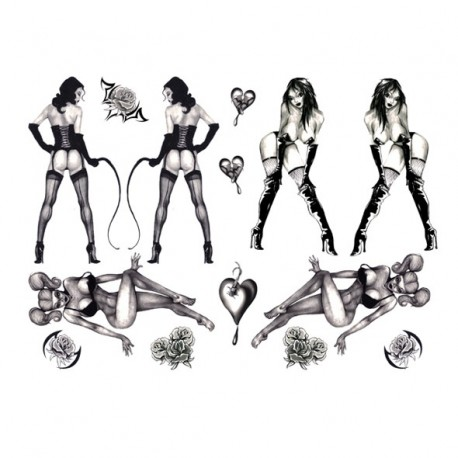 Sexy Temporary Tattoos - Burlesque Pin-up