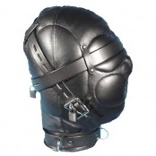 Full Face Leather Hood for S&M and Submission