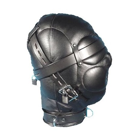 Fully Enclosed Leather Bondage Hood