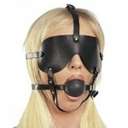 Large gag ball harness with imitation leather eye mask