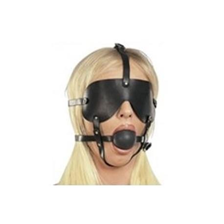 Large gag ball harness with imitation leather eye mask