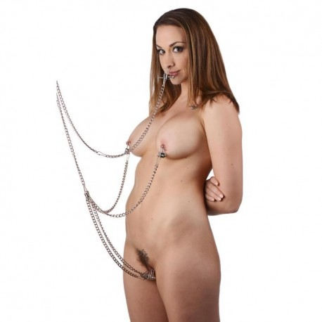 BDSM bondage kit: 5 chains and clamps: breasts, clitoris, nipples...