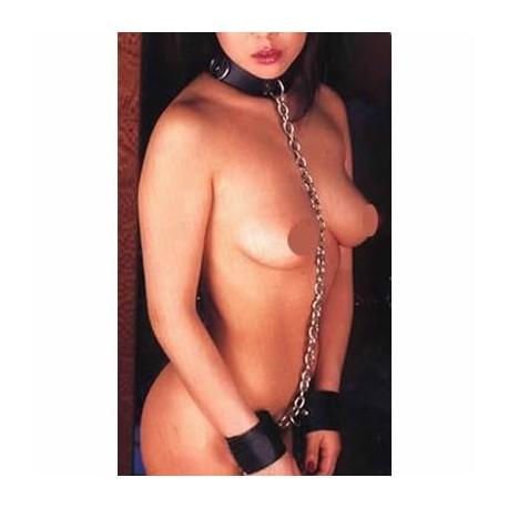 Sex prisoner - Collar bound to handcuffs with chain