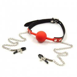 Silicone GagBall with nipple clamps - torture bondage