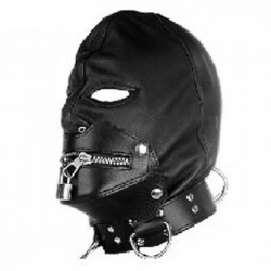 S&M Leather Hood with Zippers, Padlock and Collar