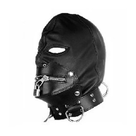 Submission bondage leather hood with zipper fastening for mouth