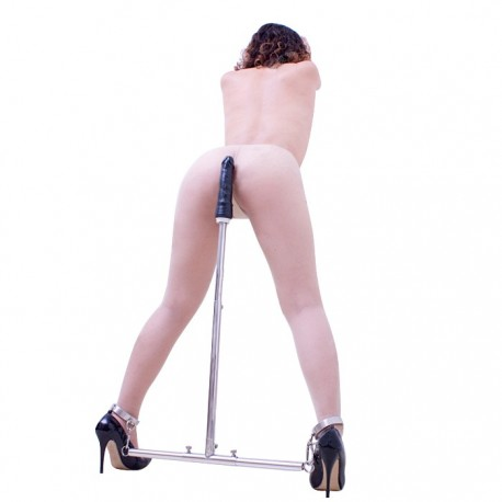 Standing restraint post with dildo and telescopic handle
